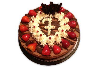 Jahodovo-čokoládová Milka torta