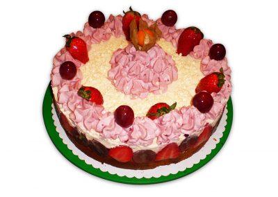 Ostužinová panna cotta torta